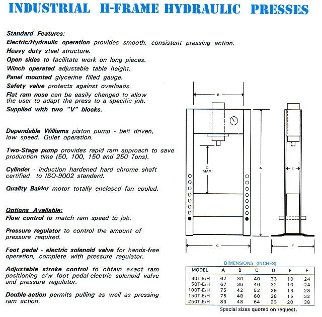 100 ton hydraulic H-frame press
